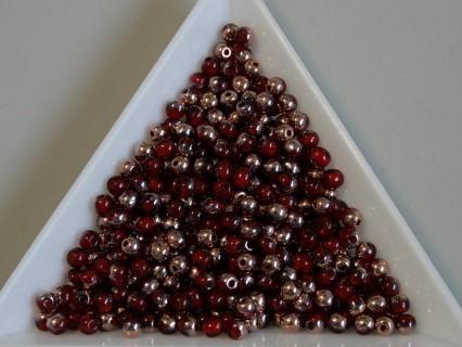 Margele sticla presata rotunde 3mm, siam ruby apollo gold lustered (5g)