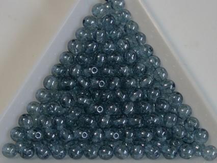Margele sticla presata rotunde 4mm, crystal alabaster blue luster (10g)