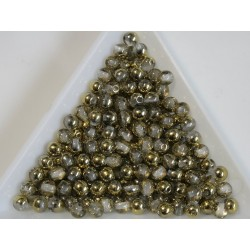 Margele sticla presata rotunde 4mm, crystal gold metallic luster (10g)