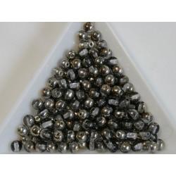 Margele sticla presata rotunde 4mm, crystal gray gold metallic luster (10g)