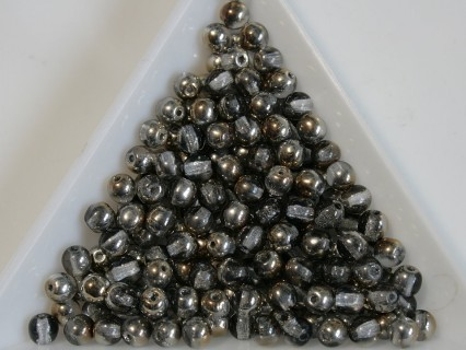 Margele sticla presata rotunde 4mm, crystal gray gold metallic luster (10g)
