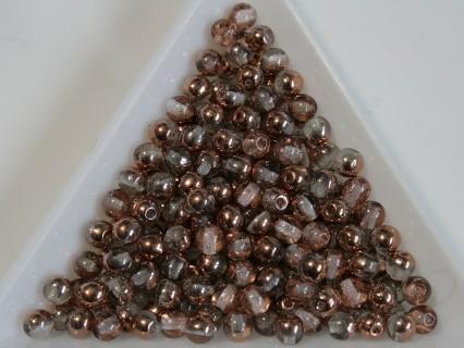 Margele sticla presata rotunde 4mm, crystal apollo gold luster (10g)