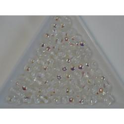 Margele sticla presata rotunde 4mm, crystal AB (10g)