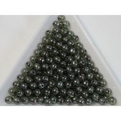 Margele sticla presata rotunde 4mm, crystal transparent green luster (10g)
