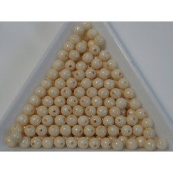 Margele sticla presata rotunde 4mm, opaque champagne luster (10g)
