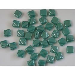 Margele sticla Cehia silky 6 mm, green turquoise (10 buc)