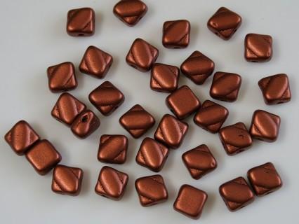 Margele sticla Cehia silky 6 mm, bronze fire red (10 buc)