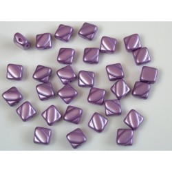 Margele sticla Cehia silky 6 mm, purple alabaster pastel lila (10 buc)