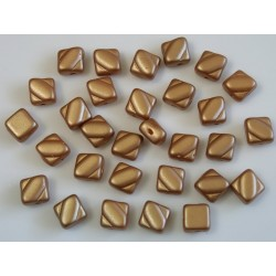 Margele sticla Cehia silky 6 mm, alabaster pastel amber (10 buc)