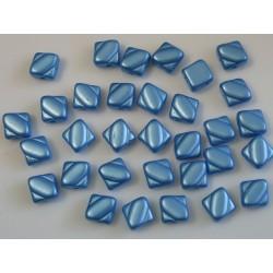 Margele sticla Cehia silky 6 mm, alabaster pastel blue turquoise (10 buc)