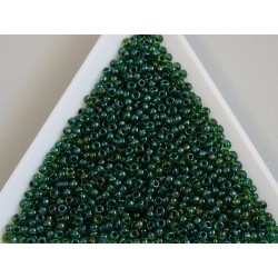 Toho R11-387, Inside-Color Rainbow Peridot/Opaque green Lined, 10g