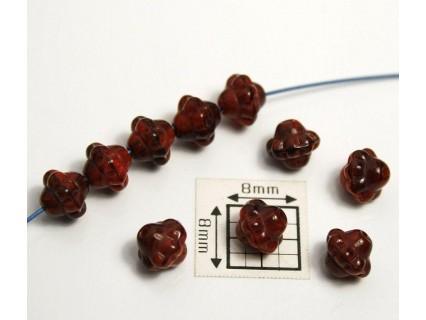 Bicon -margele sticla Cehia bicon 6 mm culoare mix rosu/maro (20 buc)
