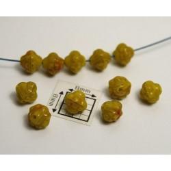 Bicon -margele sticla Cehia bicon 6 mm culoare mix mustar/maro (20 buc)