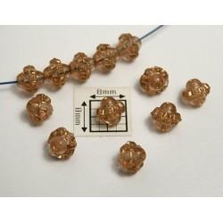 Bicon -margele sticla Cehia bicon 6 mm culoare transparen maro deschis/auriu (20 buc)