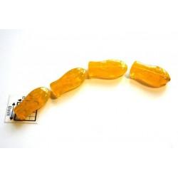 Margele sticla Cehia forma peste 14 x 7 mm culoare galben (10 buc).