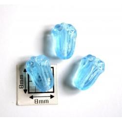 Margele sticla Cehia forma lalea 11 x 8 mm culoare albastru deschis transparent (10 buc)