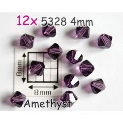 5328 4mm Amethyst - Elemente Swarovski - margele Xilion ( 12 bucati )