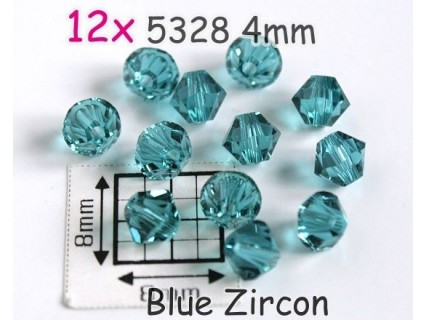 5328 4mm Blue Zircon - Elemente Swarovski - margele Xilion ( 12 bucati )