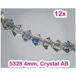 5328 4mm Crystal AB, Elemente Swarovski Xilion Cut (12 bucati)