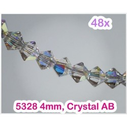 5328 4mm Crystal AB, Elemente Swarovski Xilion Cut (48 bucati)