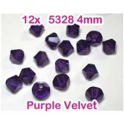 5328 4mm Purple Velvet, Elemente Swarovski Xilion cut (12-bucati)