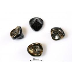 Clopotei 10x12mm - margele sticla presata Cehia clopotei trei petale - jet valentinite (4 bucati) .