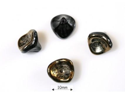 Clopotei 10 x 12 mm - margele sticla presata Cehia clopotei trei petale - jet valentinite (4 bucati) .