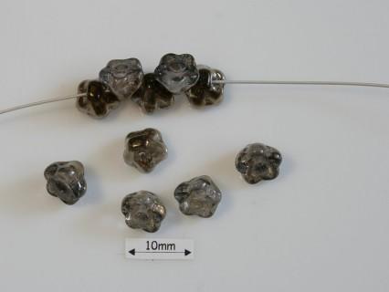 Clopotei 7 x 7 mm tip nasture - margele sticla Cehia - culoare crystal valentinite (10 buc) .