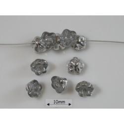 Clopotei 7 x 7 mm tip nasture - margele sticla Cehia - culoare crystal silver (10 buc) .