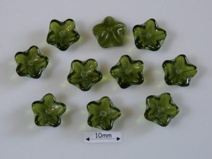 Margele sticla Cehia forma floare capat bila 10mm culoare dark olivine (10 buc)