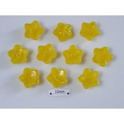 Margele sticla Cehia forma floare capat bila 10mm culoare opal yellow (10 buc) FL-17
