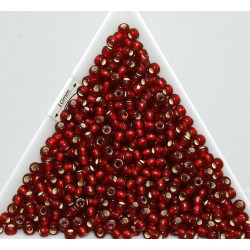 Toho R8-25CF, Silver-Lined Frosted Ruby, 10g
