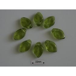 FR86 - margele frunza, culoare olivine ,10 buc