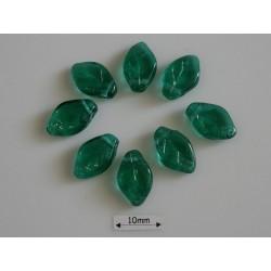 FR87 - margele frunza, culoare emerald ,10 buc