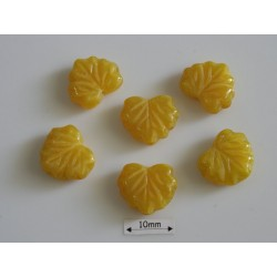 FR93- margele frunza, coral lemon ,10 buc