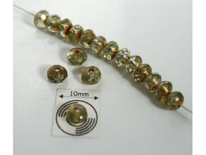 Margele sticla Cehia rondele fire polish 3x5 mm mix maro/verde (20 buc)
