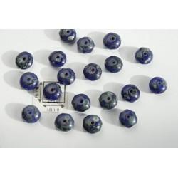 Margele sticla Cehia rondele fatetate 6x4 mm culoare albastru/verde/gri (20 buc)