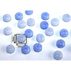 Margele sticla Cehia rondele fatetate 6x4 mm culoare mix albastru (20 buc)