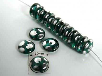 Margele sticla Cehia rondele 9x3 mm culoare mozaic verde/argintiu (10 buc) .
