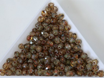 FP 4 - margele sticla Cehia firepolish 4 mm Crystal Dark Tarvertin (50 buc) CE-04-402