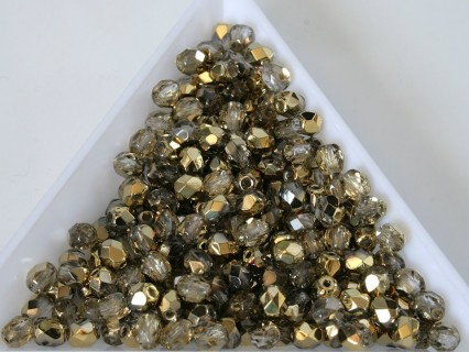 FP 4 - margele sticla Cehia firepolish 4 mm Crystal Amber (50 buc) CE-04-403