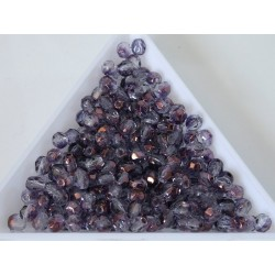 FP04-404 margele sticla Cehia firepolish 4 mm, Crystal Transparent Purple Lustre (50 buc)