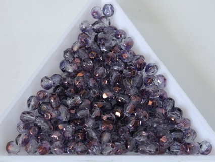 FP 4 - margele sticla Cehia firepolish 4 mm Crystal Transparent Purple Lustre (50 buc) CE-04-404