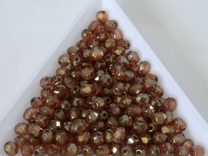 FP 4 - margele sticla Cehia firepolish 4 mm Crystal Red Luster (50 buc) CE-04-406
