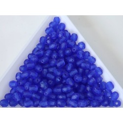 FP 4 - margele sticla Cehia firepolish 4 mm Blue Transparent matt (50 buc) CE-04-409