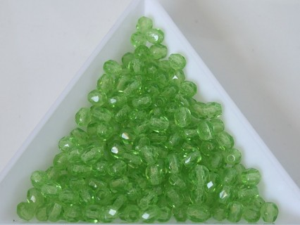 FP 4 - margele sticla Cehia firepolish 4 mm transparent green (50 buc) CE-04-411