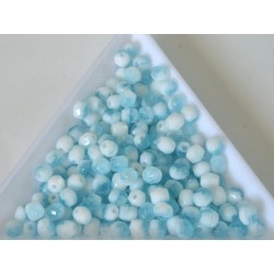 FP 4 - margele sticla Cehia firepolish 4 mm mix white/blue (50 buc) CE-04-422