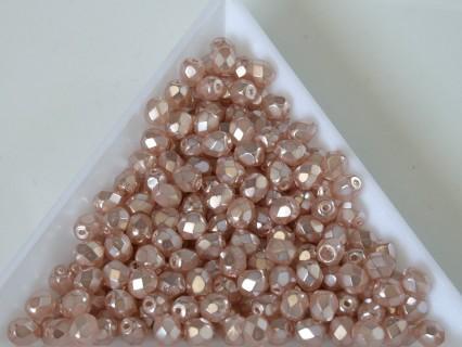 FP 4 - margele sticla Cehia firepolish 4 mm Pink pearl coated (50 buc) CE-04-426
