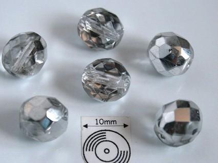 FP 12 - margele sticla Cehia firepolish 12 mm, culoarea argintiu/cristal (2 buc).
