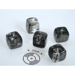 Margele sticla Cehia cub cca 8.20 x 7.60 mm culoare black diamond (4 buc).